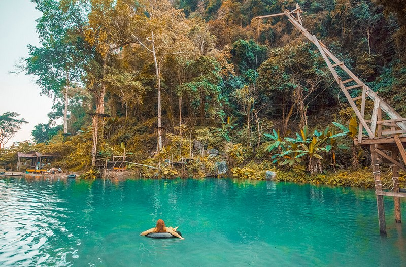 Blue Lagoon Vang Vieng - best places to visit in Laos